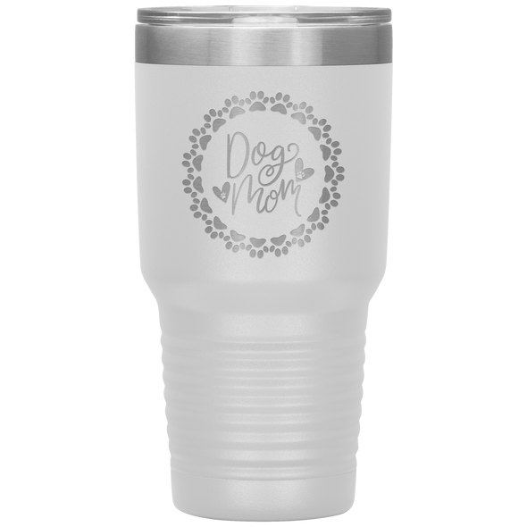 Dog Mom Wreath 30oz Tumbler White - Tierra Bella