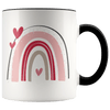 Valentine Rainbow Hearts Accent Mug Black - Tierra Bella