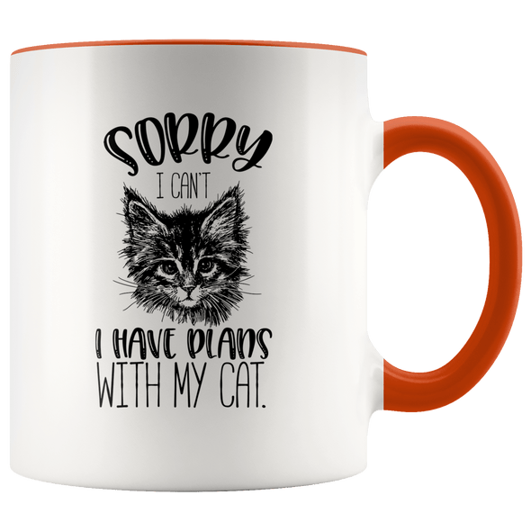 Sorry I Can't I Have Plans With My Cat Accent Mug Orange - Tierra Bella
