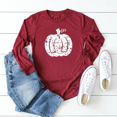 Distressed Pumpkin Unisex Long Sleeve Tee - Tierra Bella