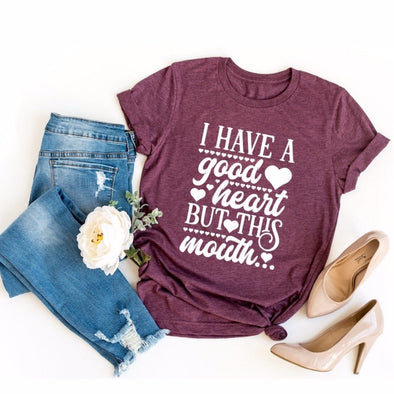 I Have A Good Heart But This Mouth Unisex Jersey Tee - Tierra Bella
