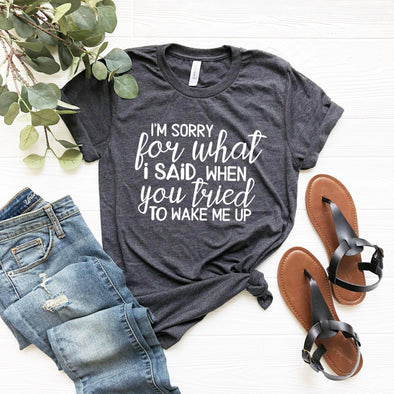 I'm Sorry For What I Said When You Tried To Wake Me Up Unisex Jersey Tee - Tierra Bella