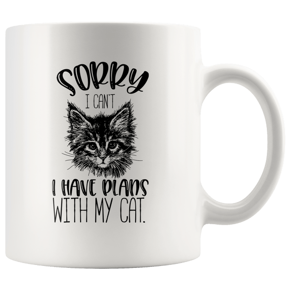 Sorry I Can't I Have Plans With My Cat Accent Mug White - Tierra Bella