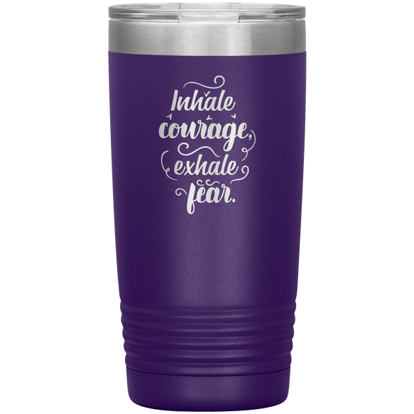 Inhale Courage Exhale Fear 20oz Tumbler Purple - Tierra Bella