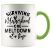 Surviving Motherhood One Meltdown at a Time Accent Mug Green - Tierra Bella