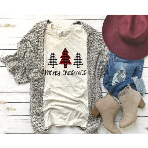 Merry Christmas Plaid Trees Unisex Jersey Tee XS Tan Heather - Tierra Bella