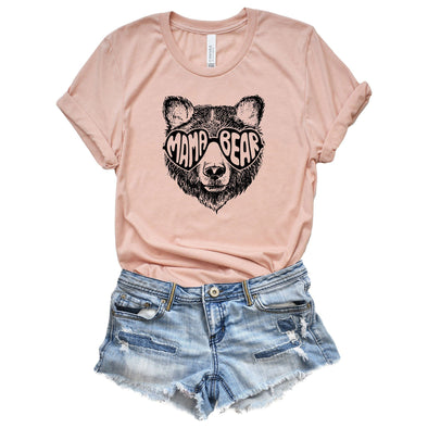 Mama Bear Heart Glasses Unisex Jersey Tee XS Heather Peach - Tierra Bella