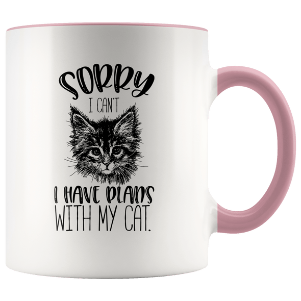 Sorry I Can't I Have Plans With My Cat Accent Mug Pink - Tierra Bella