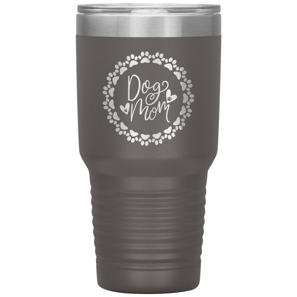 Dog Mom Wreath 30oz Tumbler Pewter - Tierra Bella