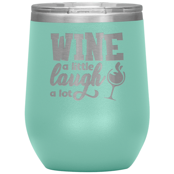 Wine a Little Laugh a Lot Stemless Wine Tumbler Teal - Tierra Bella