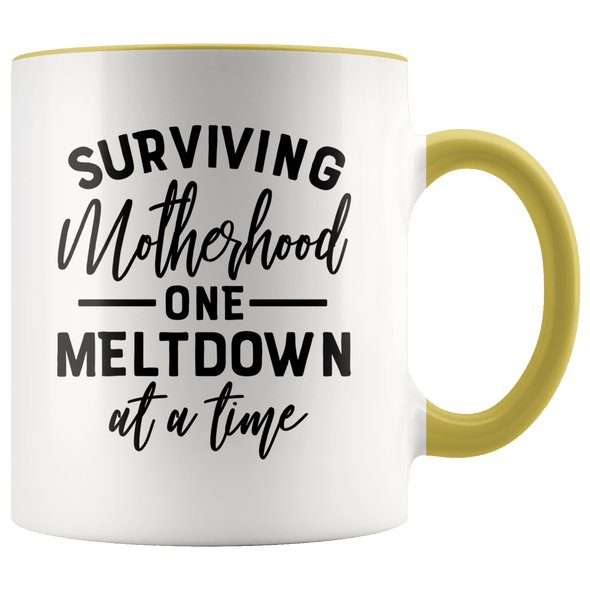 Surviving Motherhood One Meltdown at a Time Accent Mug Yellow - Tierra Bella