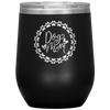 Dog Mom Wreath Stemless Wine Tumbler Black - Tierra Bella