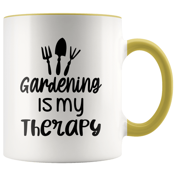 Gardening Is My Therapy Accent Mug Yellow - Tierra Bella