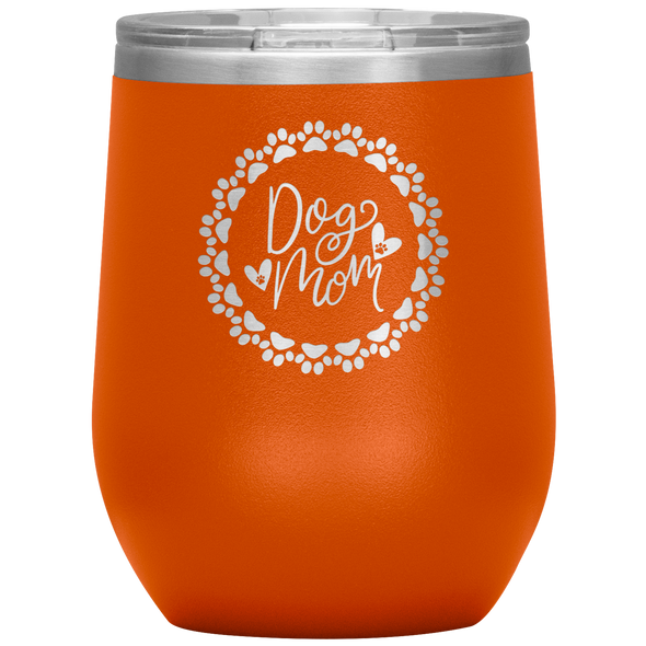 Dog Mom Wreath Stemless Wine Tumbler Orange - Tierra Bella