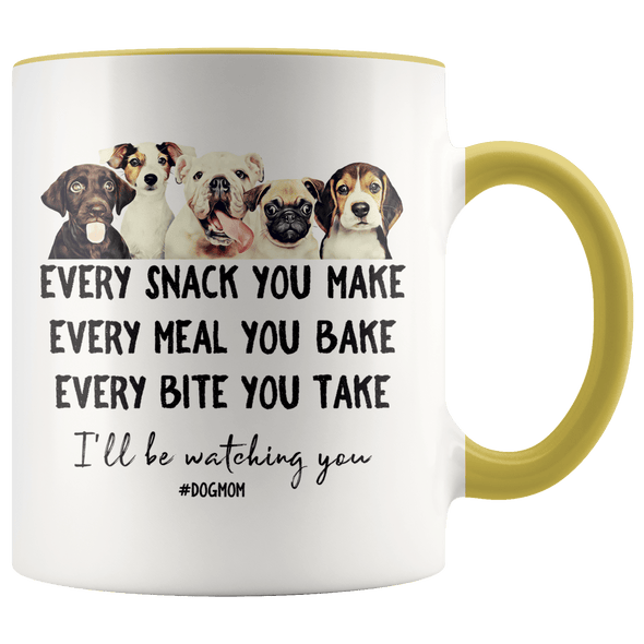 I'll Be Watching You Dog Mom Accent Mug Yellow - Tierra Bella
