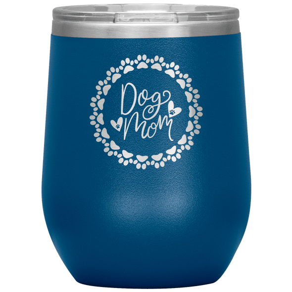 Dog Mom Wreath Stemless Wine Tumbler Blue - Tierra Bella