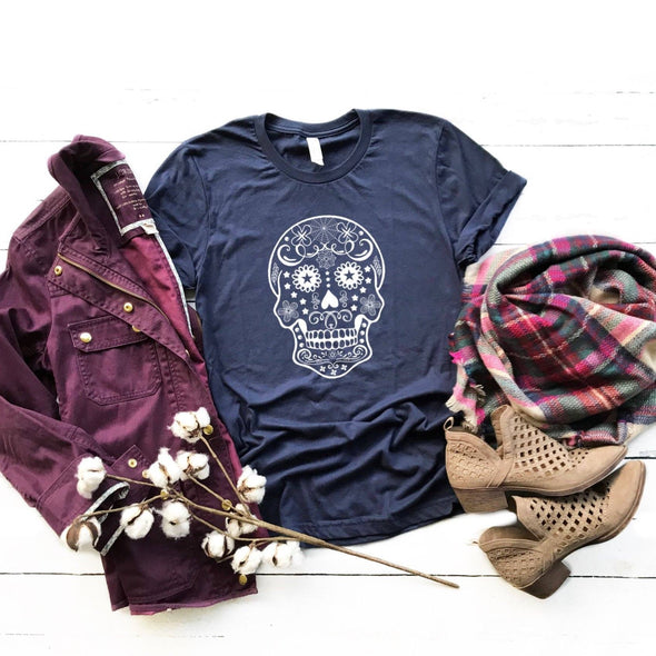 Sugar Skull Illustration Unisex Jersey Tee - Tierra Bella