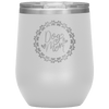 Dog Mom Wreath Stemless Wine Tumbler White - Tierra Bella