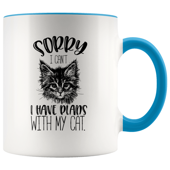 Sorry I Can't I Have Plans With My Cat Accent Mug Blue - Tierra Bella