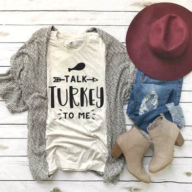 Talk Turkey To Me Thanksgiving Unisex Jersey Tee - Tierra Bella