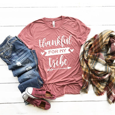 Thankful For My Tribe Thanksgiving Unisex Jersey Tee - Tierra Bella