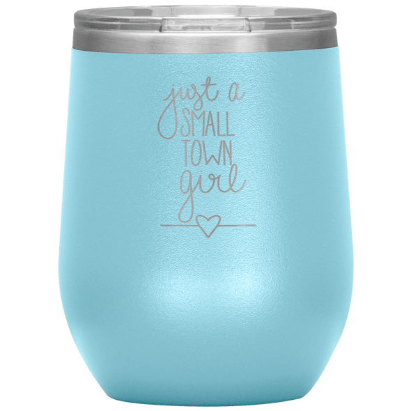 Just a Small Town Girl Stemless Wine Tumbler Light Blue - Tierra Bella