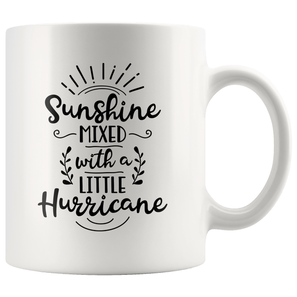 Sunshine Mixed With a Little Hurricane Accent Mug White - Tierra Bella