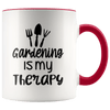 Gardening Is My Therapy Accent Mug Red - Tierra Bella