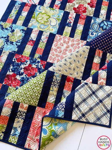 Handmade Picket Fence Rectangular Throw Quilt in Vintage Verona