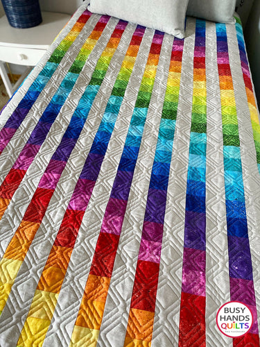 Handmade Easy Bargello Twin Quilt in Rainbow and Gray