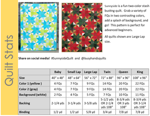 Sunnyside Quilt Pattern PRINTED - Busy Hands Quilts