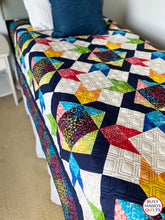 Load image into Gallery viewer, Handmade Mandalynn Twin Quilt in Rainbow Batiks