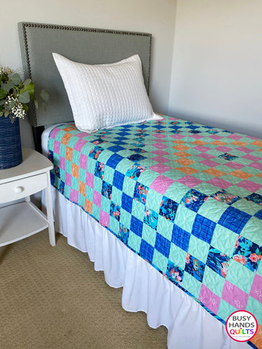 Handmade Patchwork Blues in Aqua Throw Quilt