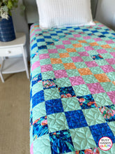 Load image into Gallery viewer, Handmade Patchwork Blues in Aqua Throw Quilt