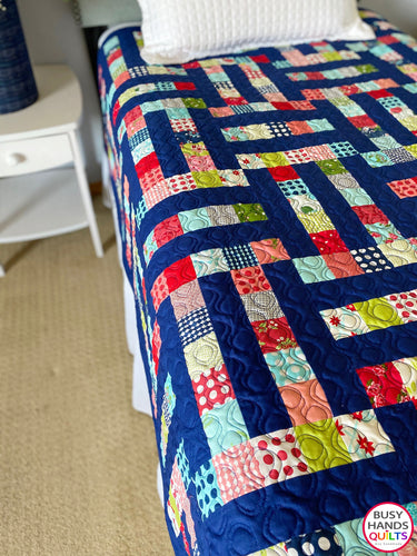 Handmade Family Ties Throw Quilt in Bonnie and Camille