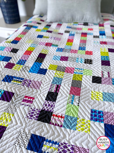 Handmade Family Ties Throw Quilt in Gridwork