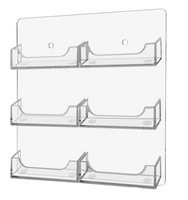 6 Pocket Wall Mount Business Card Holder - Vertical - Clear Acrylic Plastic