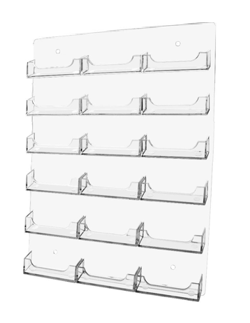 18 Pocket Wall Mount Business Card Holder - Vertical - Clear