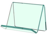 Style J - Clear - Free Standing Business Card Holder - Green Tinted edge