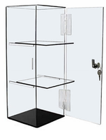 Lockable 6x6x16 Clear Acrylic Display Case with Fixed but Removable Shelving