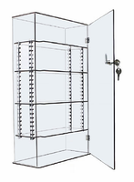 Lockable 10x4x18 Clear Acrylic Display Case with Adjustable and Removable Shelving