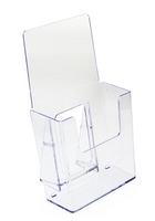 Clear Acrylic Trifold Brochure Display Stands -  4 inch wide Brochure Holder - SKU: TF-C