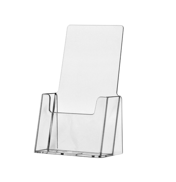 Clear Acrylic Trifold Brochure Display Stands -  4 inch wide Brochure Holder - SKU: TF-A