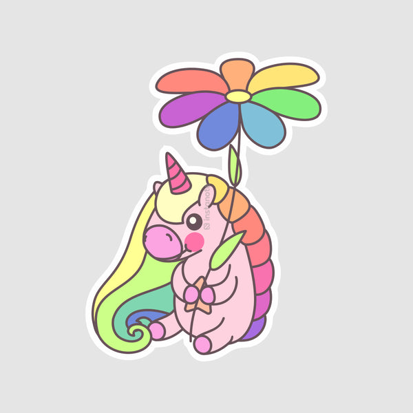 unicorn with flower  removable vinyl sticker for mobile phone cover laptop