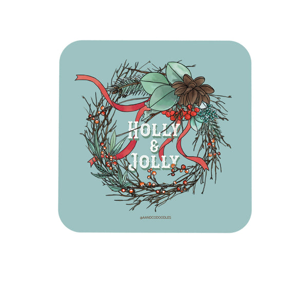 Holly and Jolly Wreath Coaster for Christmas (Dark)