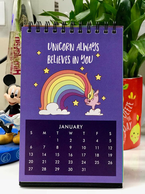 All You Need is Love and Unicorns 2019 Desk Calendar – Size 6″x4″