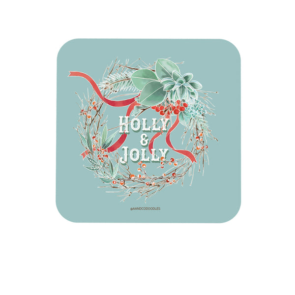 Holly and Jolly Wreath Coaster for Christmas