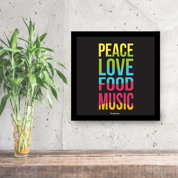 Peace Love Food Music - Poster Frame