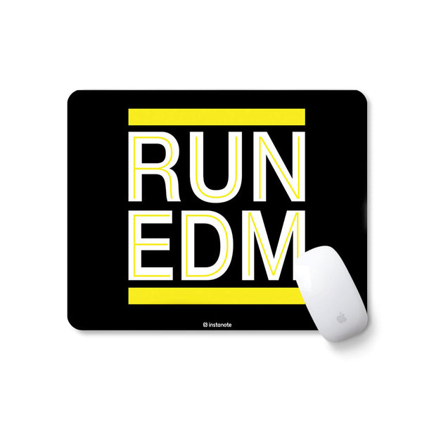 Run EDM (Yellow) - Buy Designer Rubber Based Mouse pad in India Mousepad for PC Laptop in India Instanote