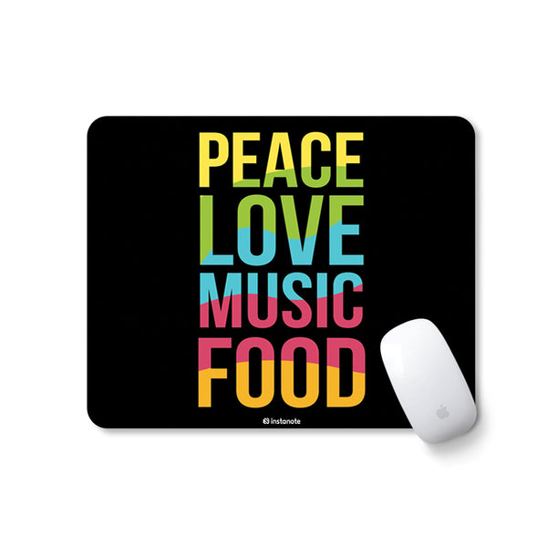 Peace Love Music Food - Mousepad for PC Laptop with Rubber Base Anti Skid Feature Mousepad for PC Laptop in India Instanote